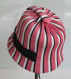 1950s Christian Dior Striped Cloche Hat  Straw by DesignerVintage1, $95.00