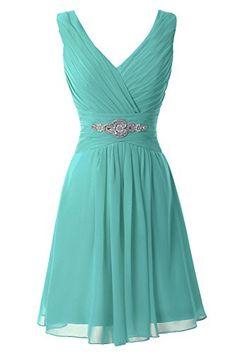 Erosebridal V-Neck Short Bridesmaid Dresses Chiffon Evening Dress Aqua US 8…