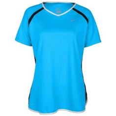 Nike Fast Pace S/S V-Neck Top - Women's - Running - Clothing - Blue Glow/Dk Obsidian/White/Reflective Silver