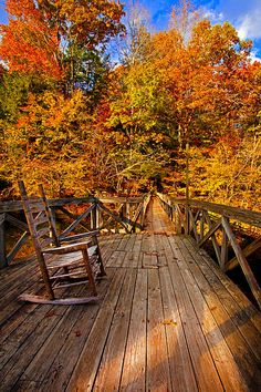 Autumn Rocking on Wooden Bridge Landscape Print by Jerry Cowart Fall Pictures, Nature Pictures, Late Summer Flowers, Autumn Scenes, Pintura Country, Autumn Cozy, Autumn Aesthetic, Landscape Prints, Hello Autumn