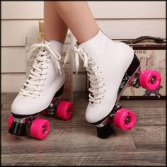 Shop Double Roller Skates With Genuine Leather Boot Metal Base Women 4 Wheels Skates Two Line Adult Skate Shoes Roller Quad, Roller Disco, Roller Derby, Roller Skating, E Quad, Roller Skate Shoes, 4 Wheel Roller Skates, Skater Girls, Girls Shoes