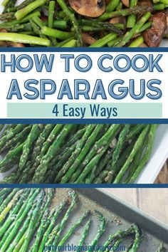 Anybody can make amazing asparagus! These four easy recipes will get you loving this vegetable and making everybody at the table happy! Try it roasted, sautéed, or even with miso - wild! #asparagus #healthy #vegitable #easy #sidedish Quick Recipes, Side Dish Recipes, Summer Recipes, Healthy Dinner Recipes, Delicious Recipes, Holiday Recipes, Healthy Side Dishes, Side Dishes Easy, Vegetable Side Dishes