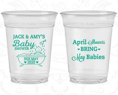 Spring Baby Shower, Baby Shower Soft Sided Cups, April Showers bring May Babies, Baby Shower Disposable Cups (90181)
