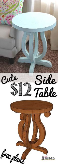 Make your own Pottery Barn Kids inspired table! Build a cute side table from a simple 2 x 10 board.  Free plans and pattern on http://hertoolbelt.com
