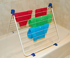 Clothes Drying Rack fits over #bathtub - a great space saver & helps in natural #drying, so saves on energy bills! #organize