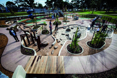 Love how the low curved walls divide and enclose the spaces - Dandenong Park Regional Playground Park Playground, Playground Design, Outdoor Playground, Urban Landscape, Landscape Design, Garden Design, Cool Playgrounds, Outdoor Learning Spaces, Public Space Design