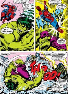Spiderman vs The Hulk Captain Marvel, Marvel Dc, Marvel Comics, Comic Book Frames, Comic Books Art, Incredible Hulk, Amazing Spider, Hulk Avengers, Spiderman