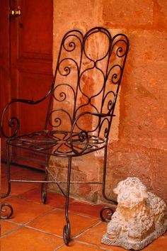 San Miguel Allende Mexico photograph by Pam Holland - metal chair, stucco walls Mexican Hacienda, Hacienda Style, Mexican Colors, Mexican Style, Wrought Iron Chairs, Terracota, Orange Crush, Happy Colors, Warm Colors