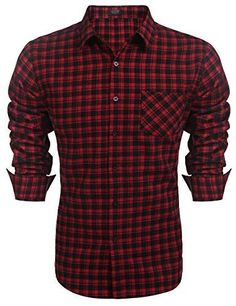 COOFANDY Herren Hemd Langarm Kariert Trachtenhemden Kentkragen Regular Fit Freizeit Casual Party Basic Männer… - Gothic-Steampunk-Rockabilly Casual Party, Casual Shirts For Men, Men Casual, Button Downs, Button Down Shirt, Collar Dress, Dress Shirt, Collar Styles, Stylish Men