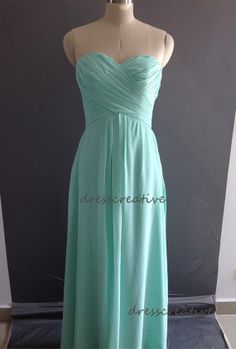 Mint Long Bridesmaid Dress, Sweetheart Floor Length Chiffon Bridesmaid Dress, Purple Pink Blue White Orange Lavender Wedding Party Dress on Etsy, $108.00