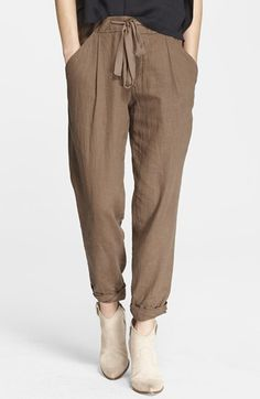 Free People Relaxed Drawstring Pants available at Fashion Pants, Fashion Outfits, Fashion Ideas, Slouchy Pants, Free People Clothing, Pants For Women, Clothes For Women, Linen Trousers, Drawstring Pants