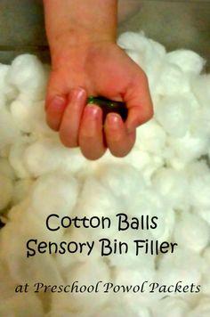 Cotton Ball Sensory Bin Filler + learning activities ideas #preschoolactivities #sensory #penguins
