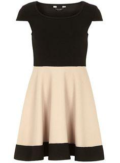 Black and stone waffle dress - Fit & Flare Dresses  - Dresses