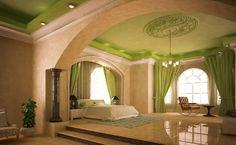 Beautiful Ceiling Designs, Gypsum Ceiling, Ceiling Decor, Yellow Black, Decoration, Curtains, Interior Design, Mirror, Architecture