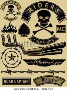 Vector Motorcycle Design Elements Set. - 98427230 : Shutterstock