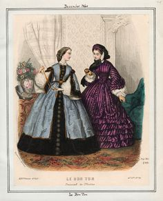 In the Swan's Shadow: Le Bon Ton, December 1860. Civil War Era Fashion Plate