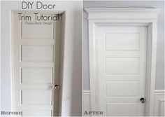 DIY Door Trim Tutorial on dreambookdesign.com Turn a basic door in to something bold and classic by adding trim!