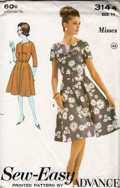 FREE US SHIP Sewing Pattern Advance 3144 Vintage Retro 1960s 60s Notch Neck Dress Size 14 Bust 34 Uncut by LanetzLivingPatterns on Etsy