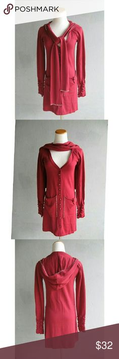 Anthropologie Dove Long Hooded Knit Cardigan XS Knitted dove long hooded stitched cardigan - raspberry with white stitching detail, large bucket front pockets with stitching and button detail, elasticated scrunched cuffs, button & faux button front,  hooded with stitching detail, attached scarf to wear in so many ways. Super soft   Size  xs Chest 16.75 Length 30.5 Style - cardigan Fabric - 45 cotton 55 acrylic Color - raspberry Condition - pre-owned -  excellent condition A Percentage Of All…