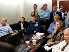 One year ago. President Barack Obama and Vice President Joe Biden, along with with members of the national security team, receive an update on the mission against Osama bin Laden, in the Situation Room of the White House, Sunday, May 1, 2011, in Washington.