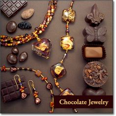 Chocolate Jewelry - Mouthwatering collection of glass chocolate designer jewelry for sale