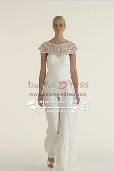 2bf441988b4 Beautiful Chiffon bridal jumpsuit wedding dresses with delicate hand beaded  cape - Wedding Pantsuits   Jumpsuits