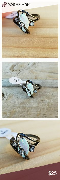 Synthetic White Fire Opal Ring New!💙 Smoke free home🌼 Jewelry Rings
