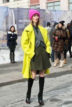 SHOP THE LOOK:    NYFW live: Brightening  Muse Anya Ziourova shows off her usual mixing and matching talent at New York Fashion Week.