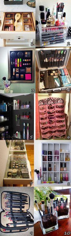 ideias interessantes de como-organizar-maquiagem
