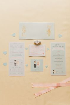 cute illustrated invitations, photo by Peter and Veronika http://ruffledblog.com/pastel-slovak-wedding #invitations #illustrated #wedding