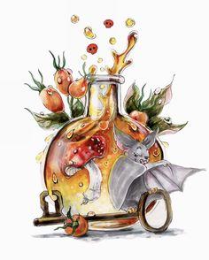 Fantasy Drawings, Cool Art Drawings, Beautiful Drawings, Fantasy Art, Halloween Drawings, Halloween Pictures, Colorful Paintings, Watercolor Paintings, Bottle Drawing