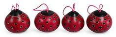 Handmade Christmas Mate Gourd Ornament (Set of 4) - Fuchsia Ladybugs | NOVICA