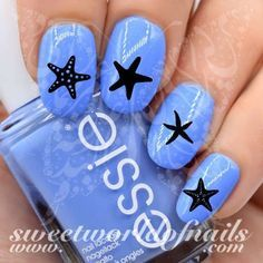 Summer Nail Art Black Starfish Nail Art Nail Water Decals 20 water decals on a clear water transfer which can be applied over any color varnish on either your natural or false nail. Use: 1. Paint nail