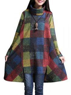 Plus Size Plaid Asymmetric Hem Loose High-Necked Dress