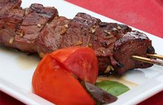 Grilled Marinated Caribou Steak Tips