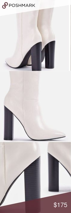 🌟Women's boot Cream heeled boot brand new still in box salara Shoes Heeled Boots