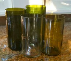 upcycled wine bottle tumblers in a variety of styles
