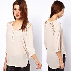 frete grátis das mulheres v- pescoço posterização recorte bege pulso- comprimento chiffon manga camisa feminina camisa 17.48
