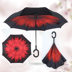 다채로운 접이식 더블 레이어 반전 Chuva 우산 자기 스탠드 안에 비 UV 보호 C 후크 손 방풍