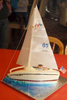 Sailboat cake: yacht, boat, sailing, sailor, water, sails, craft, birthday, skipper