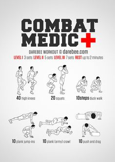 Combat Medic Workout - When there is a man down situation you just need to spring into action without a second thought. Its all about the training, the core and the abs, the quads and biceps, the ability to make your body work like a well-oiled, highly Superhero Workout, Firefighter Workout, Military Workout, Military Training, Army Workout, Firefighter Training, Combat Training, Fitness Workouts, Fitness Motivation