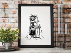 Description: Mrs. Lovett - imagined from the Movie starring Helena Bonham Carter as Mrs Lovett An 8.5 in by 11 Giclee print of a hand-drawn illustration completed by Billi French This art piece was hand drawn using a Pentel Pocket Brush Printing: Final print is printed on art quality Hammermill Digital cover 80 lb Paper using an Epson SureColor P400 Photo Printer  Shipping Details: Prints are shipped in a flat rigid cardboard mailer sandwiched between two flat cardboard pieces  Thanks for…