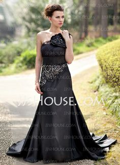 Evening Dresses - $176.99 - Mermaid One-Shoulder Court Train Tulle Charmeuse Evening Dress With Flower(s) Sequins (017022937) http://jjshouse.com/Mermaid-One-Shoulder-Court-Train-Tulle-Charmeuse-Evening-Dress-With-Flower-S-Sequins-017022937-g22937