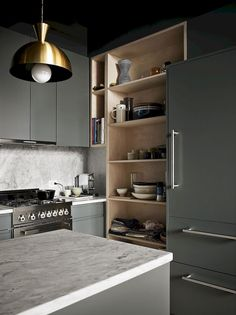 birch ply - painted ikea sektion Upgraded Ikea kitchen in photographer Pia Ulin's Brooklyn loft designed by Bangia Agostinho Architecture Kitchen Dinning, Ikea Kitchen, Kitchen Interior, Kitchen Decor, Brass Kitchen, Kitchen Grey, Kitchen Layout, Dining Room, Loft Design