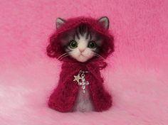 "Needle Felted Cat in Red Cape with Hood, Christmas Gift: Japanese ""Kokeshi"" Doll Style Miniature Needle Felt Kitten, Needle Felting"