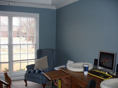 NOT my room, but my no. I love 'dusty' blues :-) American Tradition Valspar, Blue Twilight, Decor, Blue Living Room Color, Blue Living Room, Blue Rooms, Paint Colors For Living Room, Valspar Paint Colors, Home Decor, Coastal Living Rooms, Room Paint