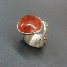 Sterling Silver Carnelian stone adjustable ring di applenamedD, €90.00