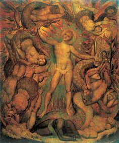 'The Spiritual Form of Nelson guiding Leviathan': Blake depicts the military leader as a self-glorifying 'Angel', treading on Africa and unleashing the historical forces that will culminate in the 'apocalypse' or 'awakening' of Europe