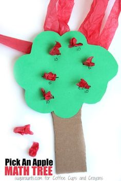 This apple theme math activity is perfect for building fine motor skills. It's a creative Fine Motor Activities For Kids, Apple Activities, Autumn Activities, Kids Learning, Learning Games, Preschool Apple Theme, Fun Math, Preschool Activities, Preschool Class