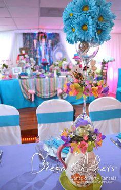 Alice in Wonderland Quinceañera Party Ideas Alice Tea Party, Girls Tea Party, Prom Themes, Quinceanera Themes, Birthday Party Celebration, Birthday Parties, Birthday Ideas, Sweet Sixteen Parties, Alice In Wonderland Tea Party